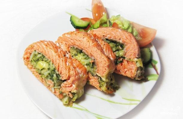 Запечённый фаршированный лосось рецепт