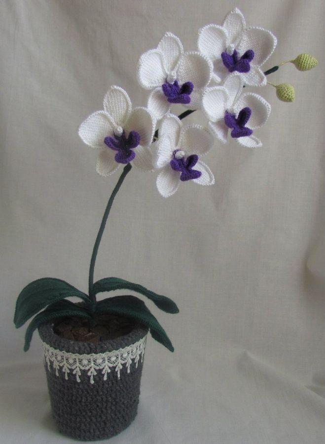 Как связать орхидею крючком в горшке