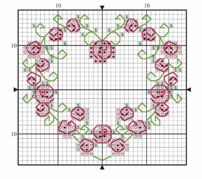 Вышивка крестом сердце из роз схемы 20