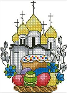 пасхальная вышивка с храмом крестиком