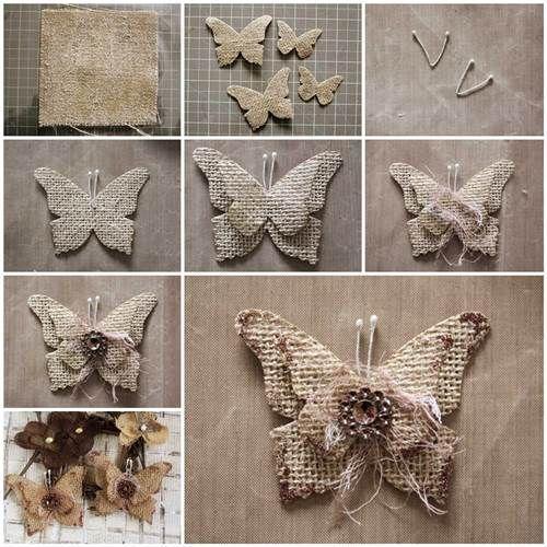 бабочки из мешковины