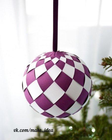 Как сделать новогодний шарик из бумаги