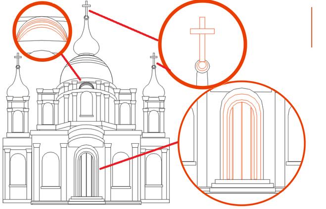 Очень красивый храм нарисовать