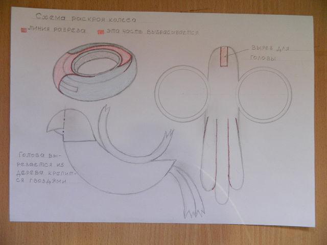 Схема поделки из покрышек своими руками