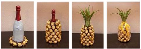 """подарок из конфет """"Фереро Роше"""" в виде """"ананаса"""" с бутылкой шампанского"""