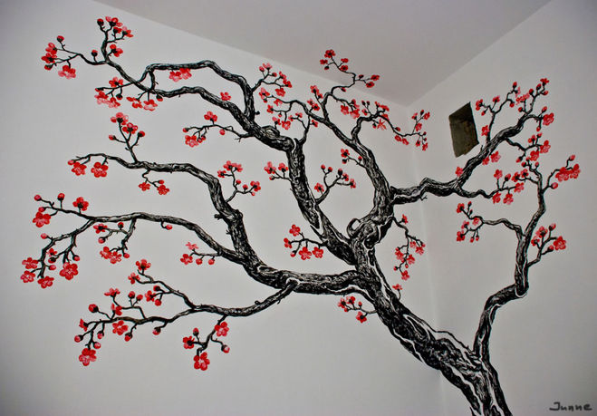 Рисунки на стенах сакура