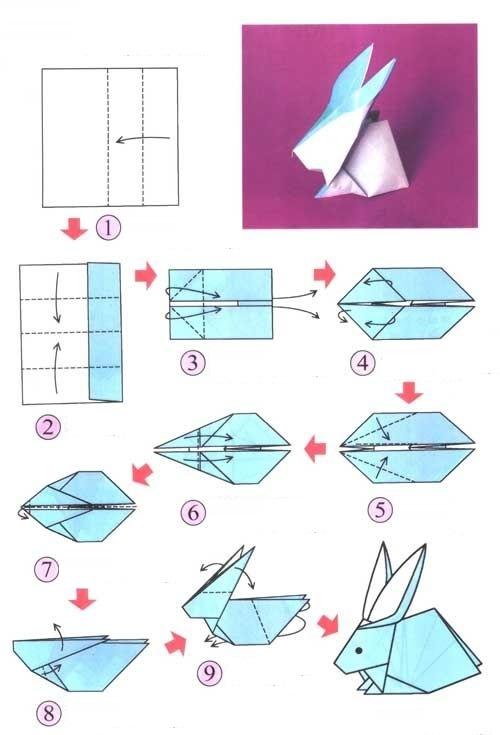Схеме оригами кролика