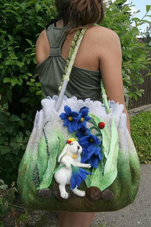 Валяние сумки из шерсти