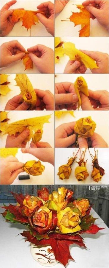Как сделать большую розу из листьев