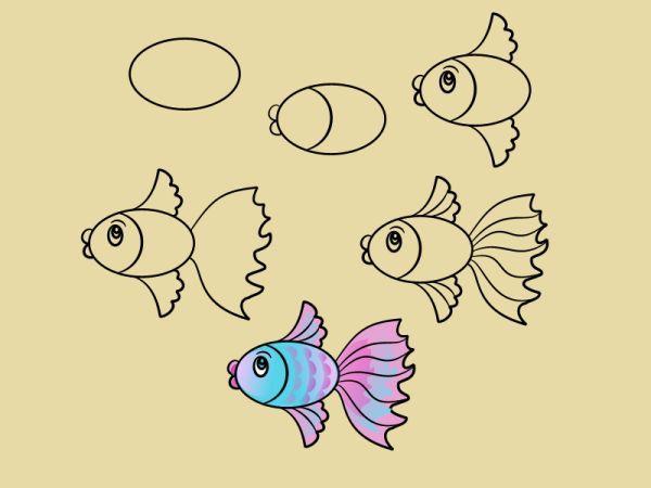 Рисование рыбки схема