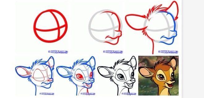 Как нарисовать оленёнка поэтапно