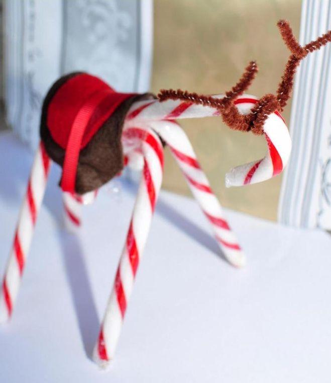 Новогоднюю поделку из рождественских леденцов