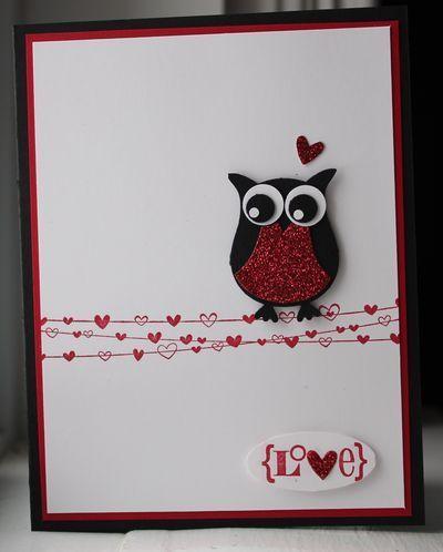 открытка с совой Stamping Up с сердцем