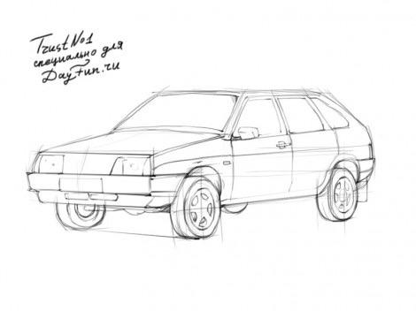 Как нарисовать автомобиль ВАЗ 2109?