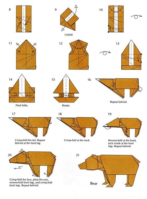 Оригами медведь схемы