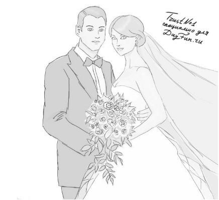 Как нарисовать жениха и невесту карандашом поэтапно