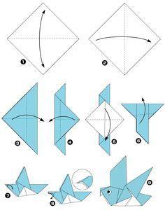 птица в технике оригами схема