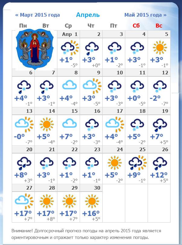 погода минск на апрель 2016 выбирать