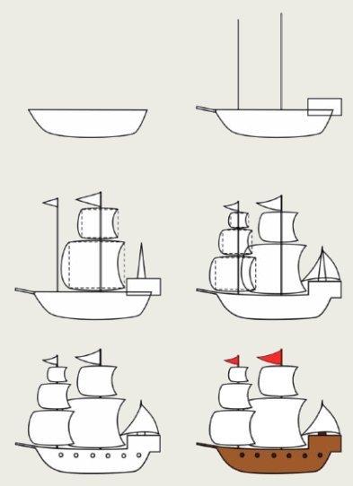 Как поэтапно нарисовать кораблик ребёнку