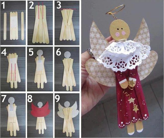поделка на Рождество, поделка на Новый год, поделка Ангел своими руками, объемный Ангел, поделка Ангел из подручных средств