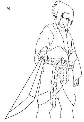 Нарисовать саске карандашом поэтапно
