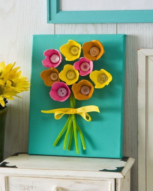 цветок из бумаги аппликация своими руками из упаковки яиц