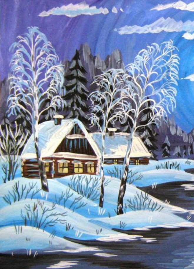 Как нарисовать зимний домик у реки поэтапно для детей мастер-класс гуашь?