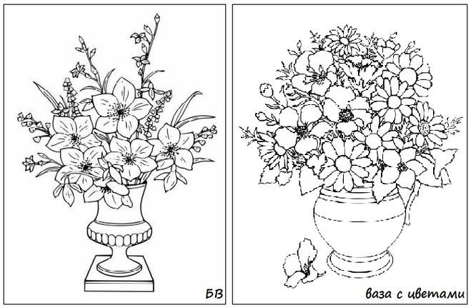 Раскраска ваза с осенними листьями и цветами