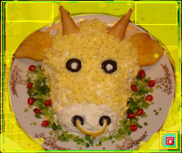 как оформить блюдо в виде быка коровы чем украсить