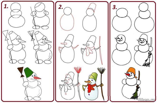 Нарисовать снеговика поэтапно