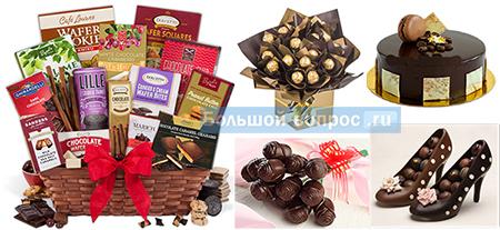шоколадный подарок для женщины на 8 марта, день Мамы