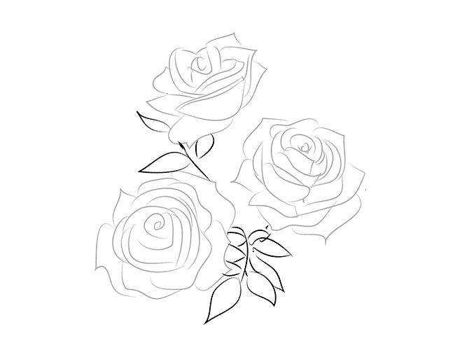 как нарисовать букет цветов 2