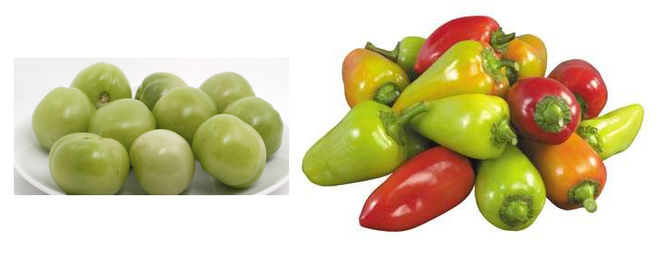 Из зеленых помидоров и болгарского перца