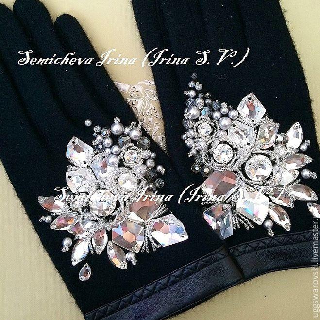 Как украсить перчатки стразами своими руками 18