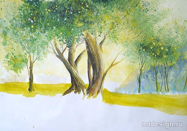 нарисовать летний пейзаж