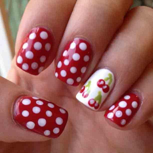 Как нарисовать вишни на ногтях фото