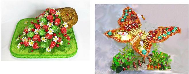 подарок из конфет девушке композиция бабочка клубника
