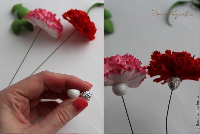 Как сделать гвоздику из ткани поэтапно