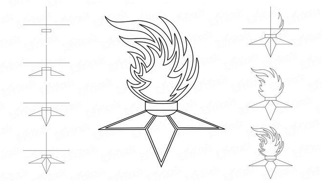 Как поэтапно нарисовать Вечный огонь