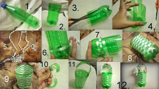 Как сделать корзину из пластиковой бутылки своими руками