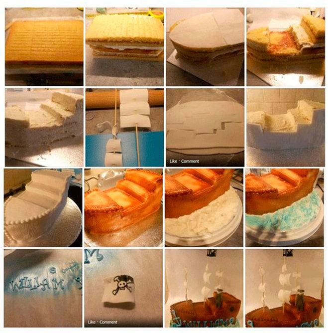 Как сделать торт в виде корабля