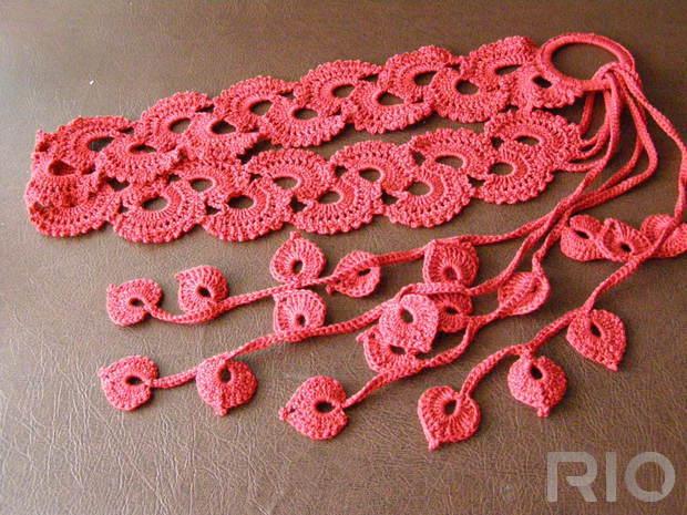 Вязание крючком пояса для платья 85