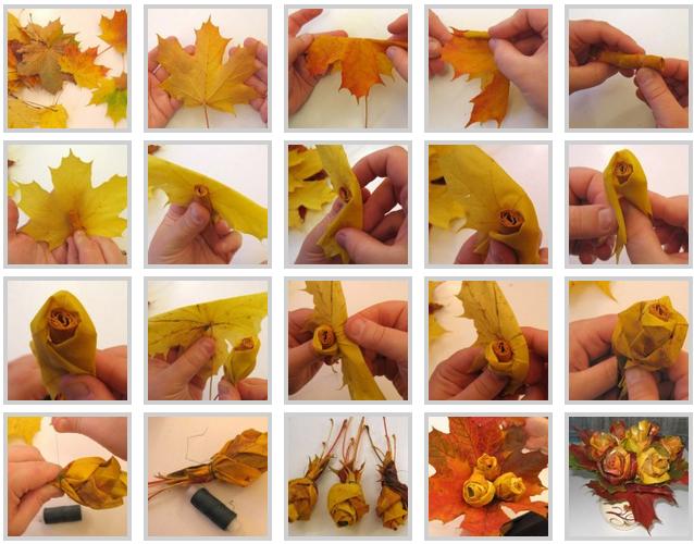 Как сделать из листьев розу фото 169