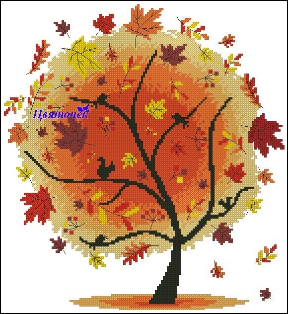 Деревья монохромная вышивка крестом схемы