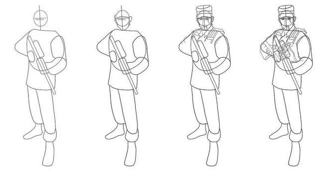 как нарисовать солдата для начинающих создали термобелье
