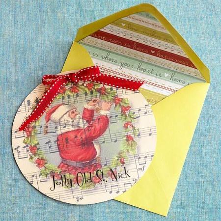 Как сделать новогоднюю открытку круглой формы своими руками