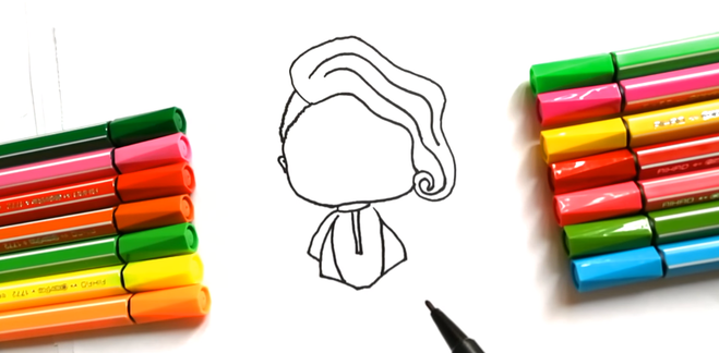 Урок рисования кукла LOL по этапам шаг за шагом простой рисунок
