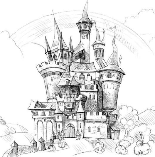 Замок снежной королевы рисунок поэтапно