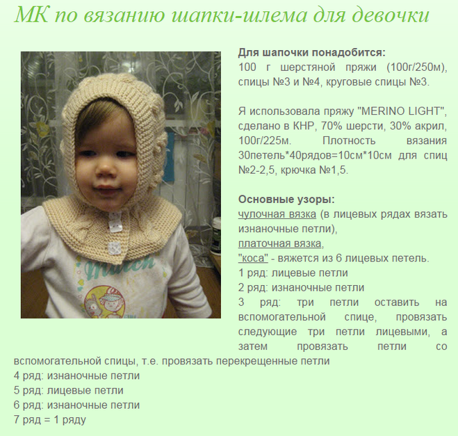 Вязание на спицах детских шапочек на девочек с описанием