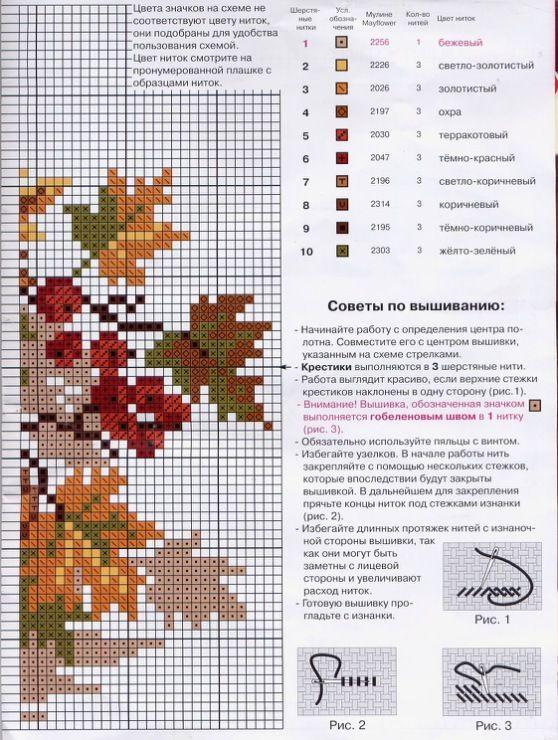 Схемы вышивок крестом на одном листе 885